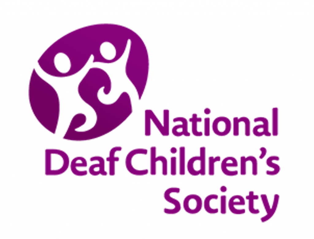 Logo for the National Deaf Children's Society has an abstract drawing of two children holding hands while running or skipping above and to the left of the organization's name.