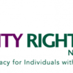 "Logo for the National Disability Rights Network. To the right of the organization's name is a group of overlapping squares. Below the name is the organization's motto, ""Protection & Advocacy for individuals with Disabilities""."