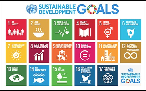 Logo for the Sustainable Development Goals (SDGs) shows 17 squares in different colors, each representing one of the SDGs.