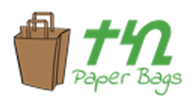 "Logo for Teki Paper Bags. To the left is a drawing of a brown paper bag. To the right, the word ""Teki"" is in Amharic script. Below that are the words ""Paper Bags""."