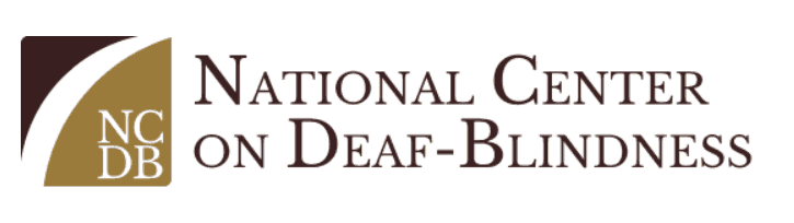 The logo for the National Center on Deaf-Blindness, which has the acronym NCDB inside a square divided by a curved line at the left, with the full name of the center on the right.