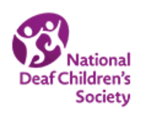 Logo for the National Deaf Children's Society shows an abstract drawing of two people holding hands while skipping.