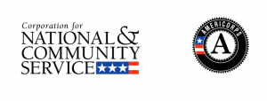 Two logos are shown: One for the Corporation for National & Community Service, the other for Americorps. Both logos include a partial fragment of the U.S. flag with white stars on a blue background, and red and white stripes.
