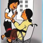 Colored drawing shows a woman seated in a wheelchair who is talking, and holding hands, with a woman who is standing. The woman who is standing is pointing at a poster on a wall next to them.
