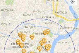 This screen shot shows a mobile phone application with a map.