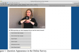 Screenshot of a computer screen that shows a frozen video above a multiple choice question. The question asks what language or mode of communication the respondent used when they were growing up.