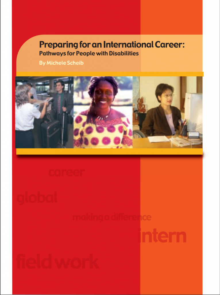 """Cover of the publication entitled """"Preparing for an international career: Pathways for people with disabilities"""". Below the title are pictures of three people at work."""