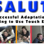 "At the top of the banner it says ""Project Salute: Successful Adaptations for Learning to Use Touch Effectively."" Below that are five different photos of various adults working with young DeafBlind children and infants."