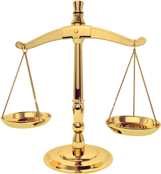 Image shows a golden balancing scale.