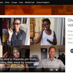 """Screenshot of a page in the CNN news website showing a frozen video """"Giving a voice to the voiceless"""" about deaf awareness and empowerment in Rwanda."""