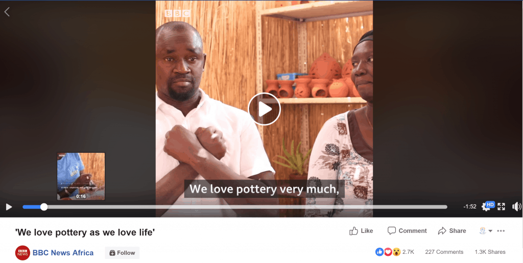 Screenshot of a video on the BBC News Africa Facebook page that shares a story about a deaf couple that owns a pottery business in Senegal