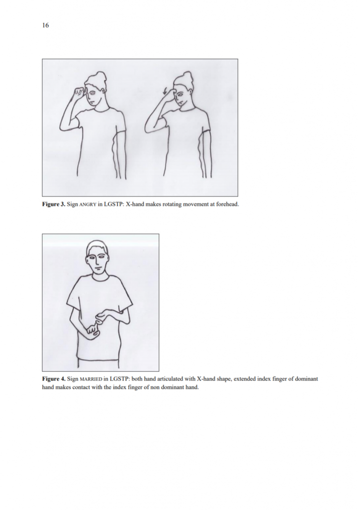 Two drawings show two different signs in São Tomé and Príncipe Sign Language with brief explanation in text.