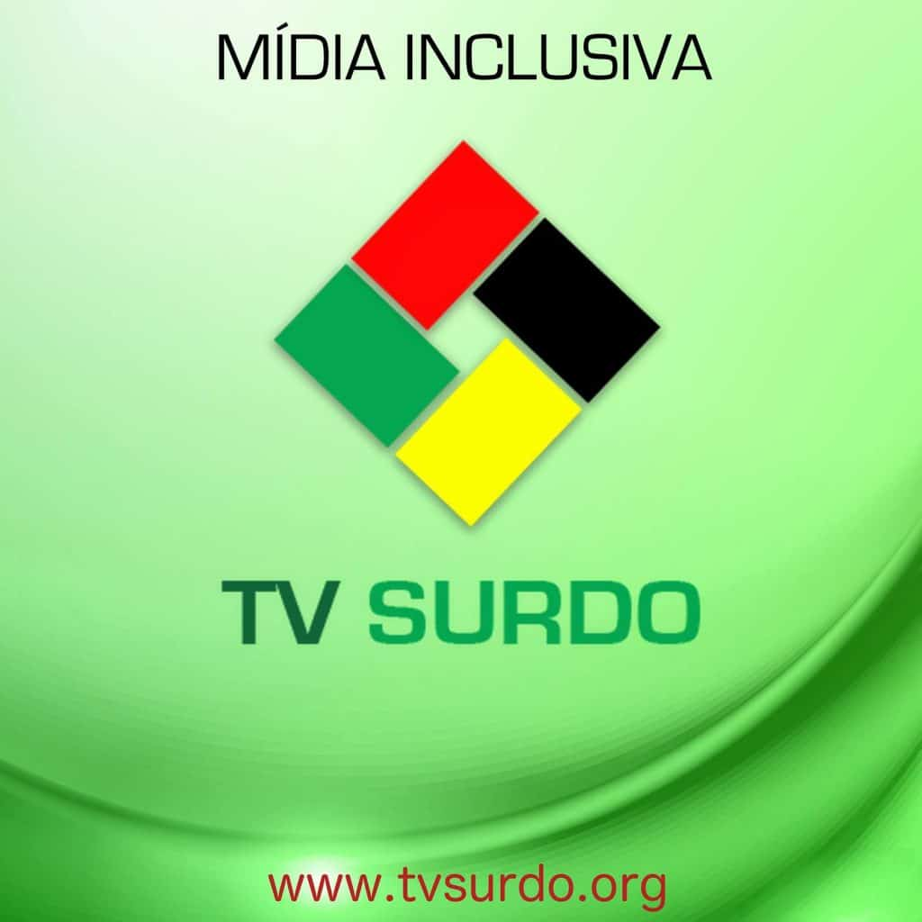 "At top, it says in Portuguese ""Mida inclusiva"", then shows the TV Surdo logo as a square in which each side is a different color, red, black, yellow, and green. Below the logo is the name TV Surdo. At the bottom is the web address www.tvsurdo.org"