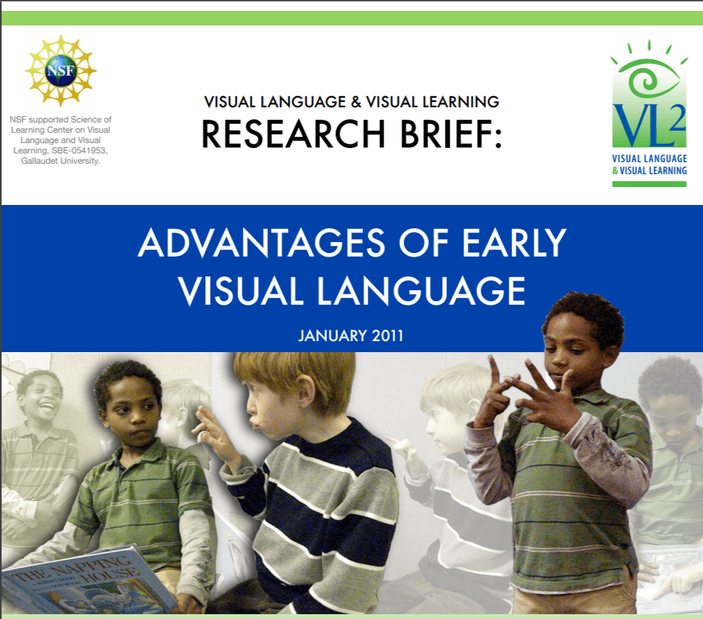 """Cover of the publication entitled """"Visual Language & Visual Learning Research Brief: Advantages of Early Visual Language"""". Below the title is a montage of two boys signing either to each other or to themselves."""