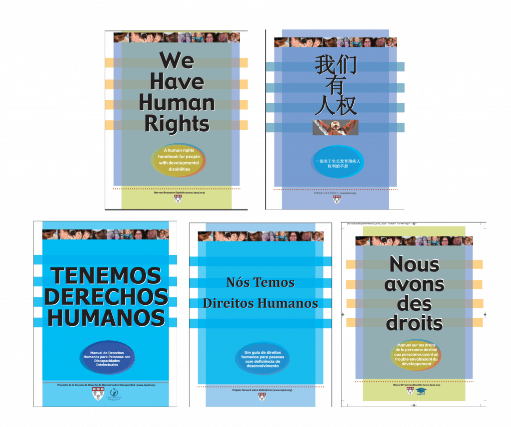 "Five copies of the cover for ""We have human rights"" in five languages: English, Chinese, Spanish, Portuguese, and French."