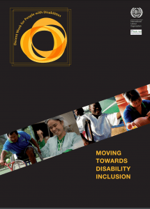 "Cover of the publication entitled ""Moving Toward Disability Inclusion"". Four pictures above the title show images of people with different disabilities working in different kinds of jobs."