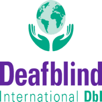 Logo for Deafblind International (DBI) shows a pair of hands cradling the globe above the name of the organization.