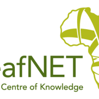 Logo for DeafNET. To the right of the organization name is a drawing of the African continent with green criss crossing lines. Below the organization name is the motto,