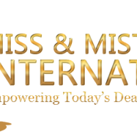Logo for Miss & Mister Deaf International has a drawing of a man and a woman wearing