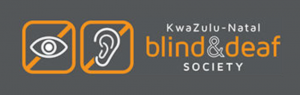 Logo for the KwaZulu-Natal Blind & Deaf Society. To the left of the organization's name is a drawing of an eye inside a crossed-out square, and a drawing of an ear inside a crossed-out square.