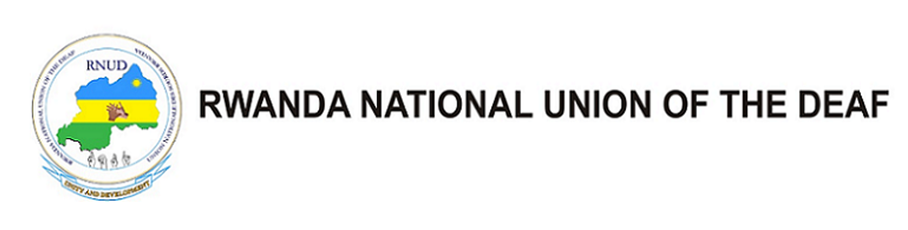 Logo for the Rwanda National Union of the Deaf: to the left of the name of the organization is a circle with a map of Rwanda inside. The map is filled with the colors of the Rwanda flag.