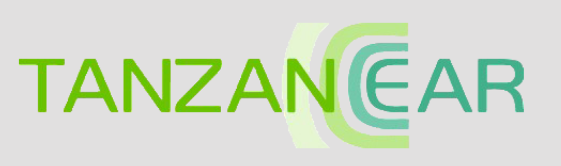 """logo for Tanzanear. The name of the organization is spelled in all capital letters. The last three letters, """"Ear"""", are in a different color from the rest of the name."""