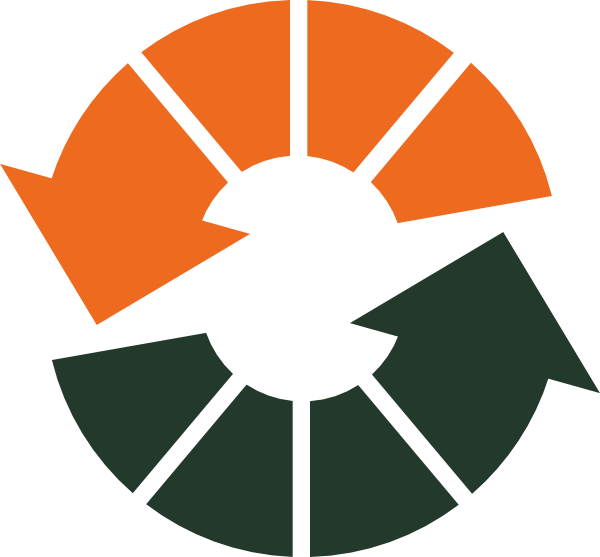 An orange arrow and a green arrow each point at each other in a never-ending circle.