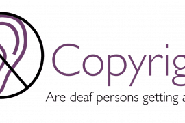 "To the left is a drawing of an ear with a circle around it and a bar inside crossing out the ear. To the right is the title of the paper ""Copyright: Are deaf persons getting a fair deal?"""