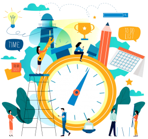 a graphic with a clock, people working around it