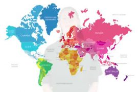 Image shows a map of the world in many bright colors. A faint image of a woman can almost be seen behind the map.